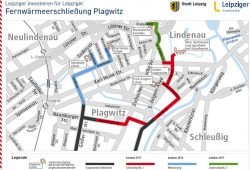 Die geplanten neuen Fernwärmestränge in Plagwitz. Karte: Stadtwerke Leipzig