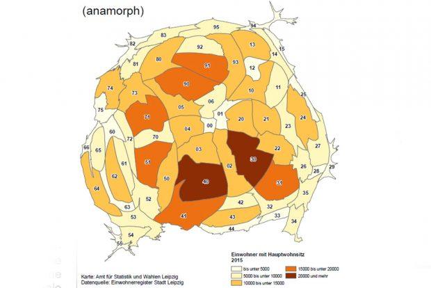 Anamorphe Leipzig-Karte: Einwohner mit Hauptwohnsitz. Karte: Stadt Leipzig, Amt für Statistik und Wahlen