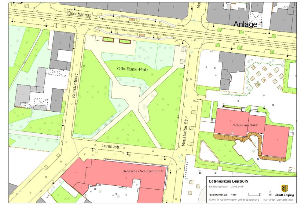 Der Otto-Runki-Platz. Karte: Stadt Leipzig