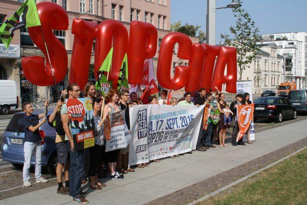 CETA-Protest 2016 in Leipzig. Foto: Ralf Julke