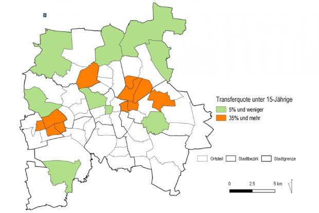 Leipziger Ortsteile nach SGB-II-Quote für unter 15-Jährige. Grafik: Stadt Leipzig, Bildungsreport 2016