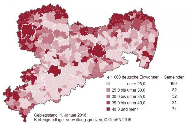 Zuzüge aus dem Bundesgebiet 2011 bis 2016 nach Gemeinden. Grafik: Freistaat Sachsen, Statistisches Landesamt