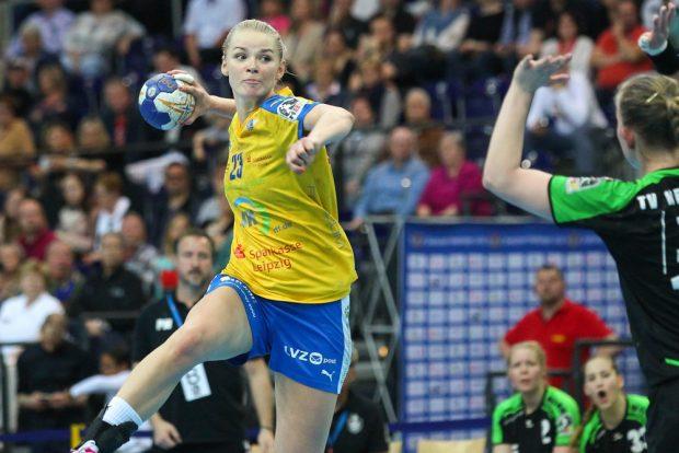 Shenia Minevskaja verwandelte alle vier Siebenmeter und war am Ende mit 9 Toren erfolgreichste Werferin der Partie. Foto: Jan Kaefer