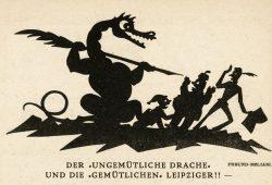 Scherenschnitt von Alwin Freund-Beliani. In: Der Drache 1920, Heft 49, S. 24. Abbildung: Deutsche Nationalbibliothek