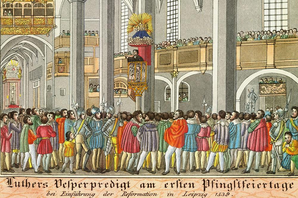 """""""Luthers Vesperpredigt am ersten Pfingstfeiertage bei Einführung der Reformation in Leipzig 1539"""" aus dem Jahr 1839. Foto: Stadtgeschichtliches Museum"""