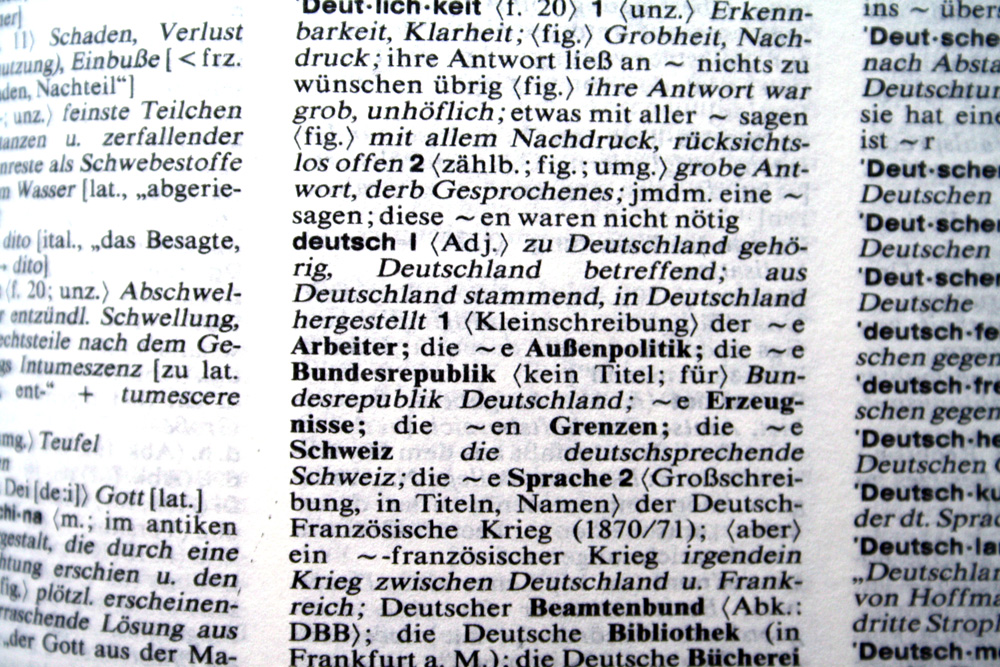 Deutsch im Wörterbuch. Foto: Ralf Julke