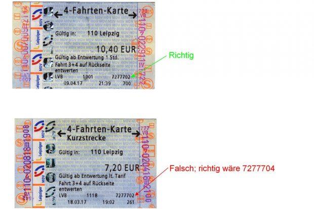 Der Schnell-Code auf den Tickets der LVB. Foto: privat (Herr B.)