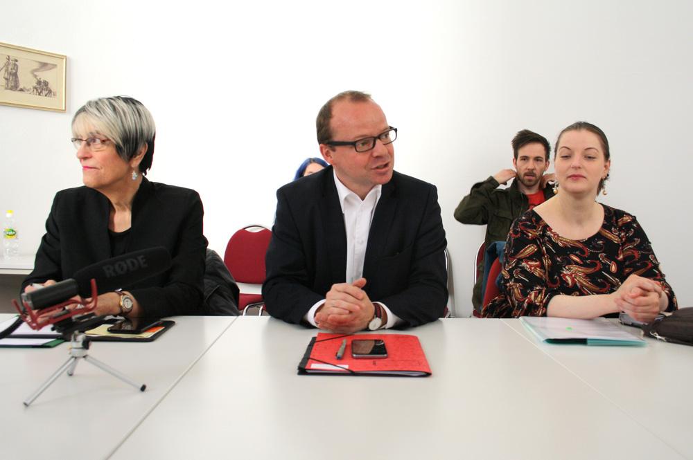 Naomi-Pia Witte, René Hobusch und Ute Elisabeth Gabelmann. Foto: Ralf Julke