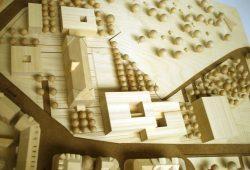 Modell des Schulcampus Ihmelsstraße mit der Doppelsporthalle ganz rechts. Foto: Ralf Julke