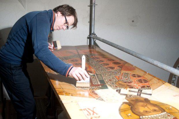Restaurierung einer Ikone aus der Russischen Gedächtniskirche. Foto: Kunstretter e.V.