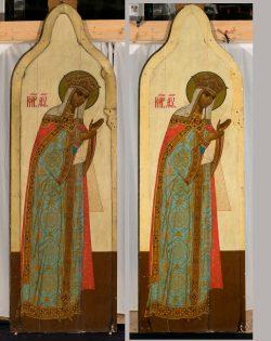 Maria-Ikone vor und nach der Restaurierung. Foto: Kunstretter e.V.
