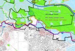 Ausschnitt aus der Schutzgebietskarte der Stadt mit Forstweg und Baugelände. Karte: Stadt Leipzig