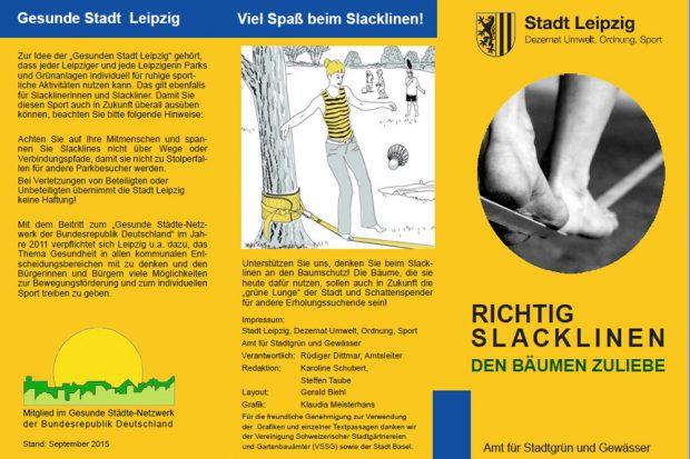 Faltblatt zum Slacklining in Leipzig. Cover: Stadt Leipzig