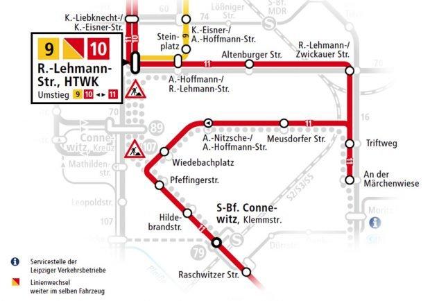 Umleitung für Linien 9, 10 und 11 vom 8. bis 16. Mai. Karte: LVB