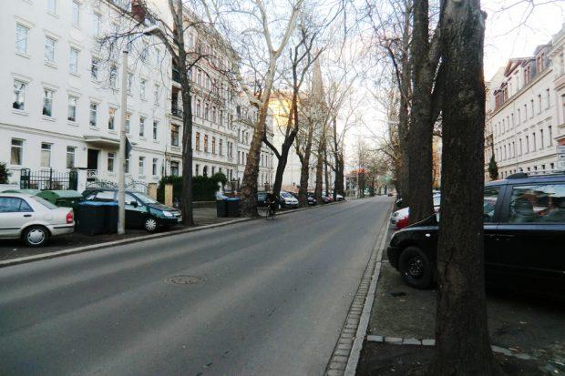 Erich-Zeigner-Allee kurz vor der Schule. Foto: Marko Hofmann