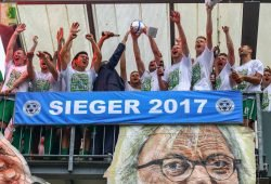 Aufstiegsfeier der BSG Chemie Leipzig am 3. Juni 2017 im Alfred-Kunze-Sportpark. Foto: BSG Chemie Leipzig/Christian Donner