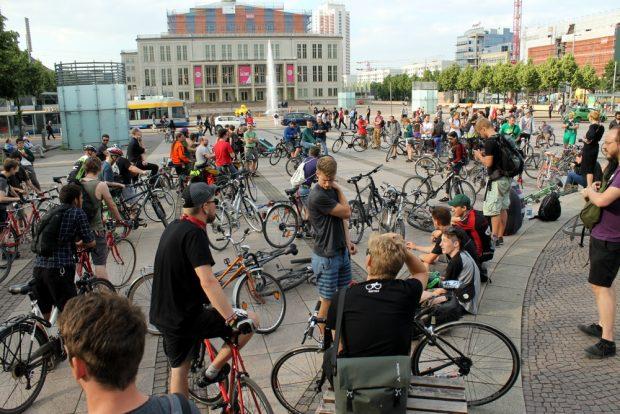 Critical Mass am 12. Juni 2017 auf dem Augustusplatz. Foto: Andreas Bernatschek