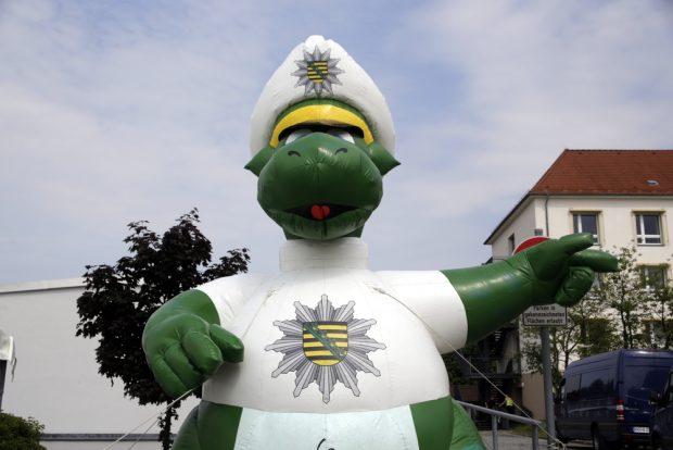 Polizeimaskotchen Poldi. Foto: Alexander Böhm