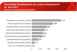 Die gemeldeten Arbeitsstellen nach Branchen. Grafik: Arbeitsagentur Leipzig