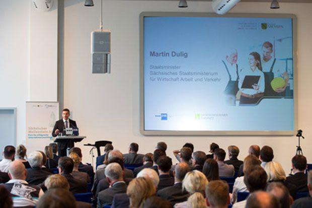 Staatsminister Martin Dulig bei den Sächsischen Aktionstagen Unternehmensnachfolge. Foto: SMWA, Tom Schulze