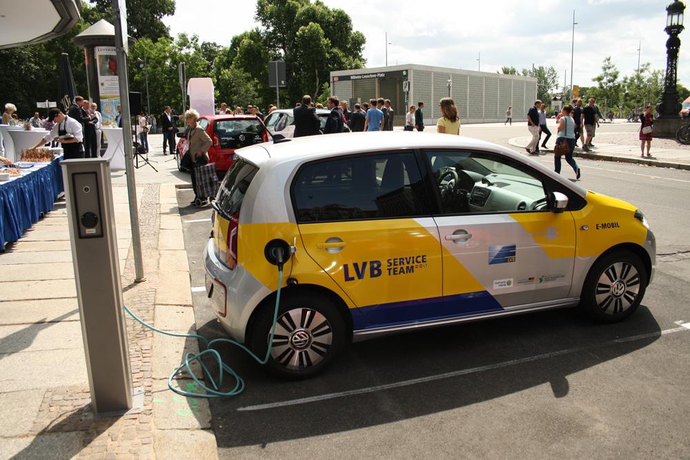 E-Auto-Station am Mobilitätszentrum der LVB. Foto: Ralf Julke