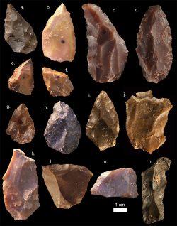 Steinwerkzeuge aus der Mittleren Steinzeit aus Jebel Irhoud (Marokko). Spitzformen wie a-i sind üblich. Ebenfalls charakteristisch sind die Kernsteine, die mittels Levalloistechnik präpariert wurden (j-k). Foto: Mohammed Kamal, MPI EVA Leipzig (License: CC-BY-SA 2.0)