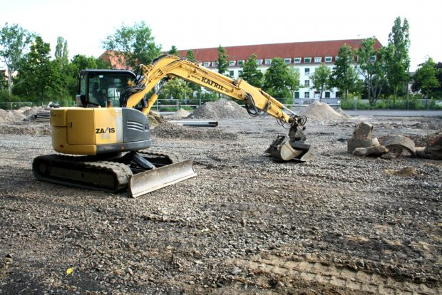 Bauplatz für Kita und Förderschule an der Alten Messe. Foto: Ralf Julke