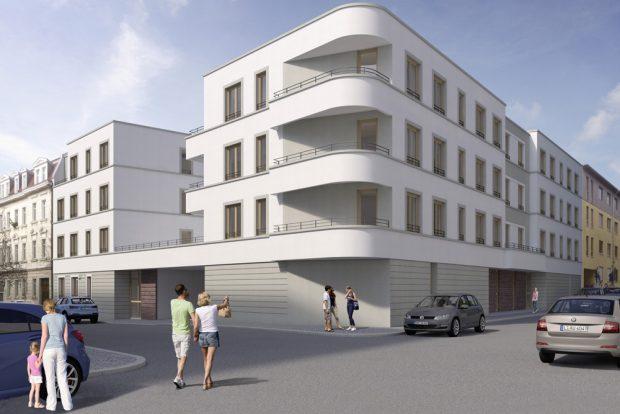 Das neue Bauprojekt der Kontakt in der Biedermann- / Leopoldstraße in Leipzig-Connewitz. Foto: WBG Kontakt e.G.
