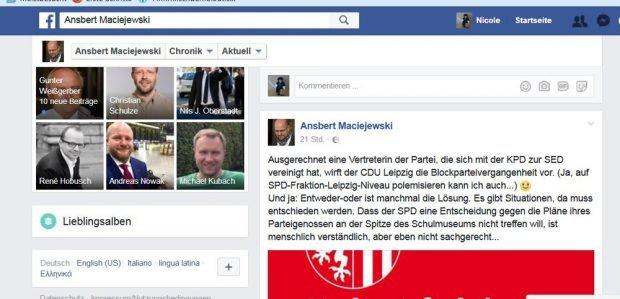 Das Facebook-Statement von Ansbert Maciejewski. Screenshot: Nicole Wohlfarth