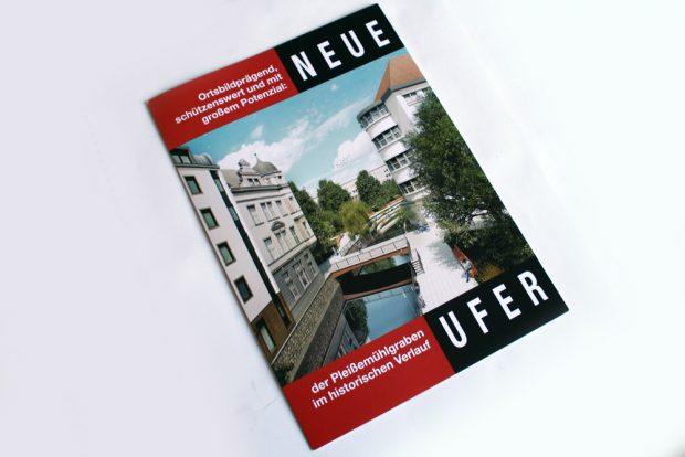 Neue-Ufer-Faltblatt zur Rückgewinnung des Pleißemühlgrabens im Naundörfchen. Foto: Ralf Julke