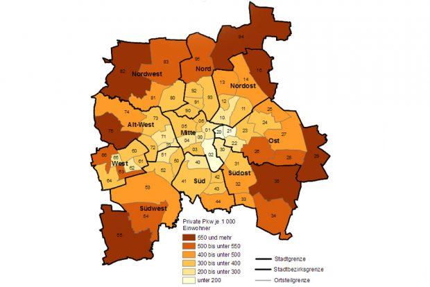 Bestand an Pkw je 1.000 Einwohner. Karte: Stadt Leipzig, Quartalsbericht 1 / 2017