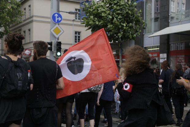 Auch die deutsche Apfelfront schließt sich dem Protestzug an. Foto: L-IZ.de