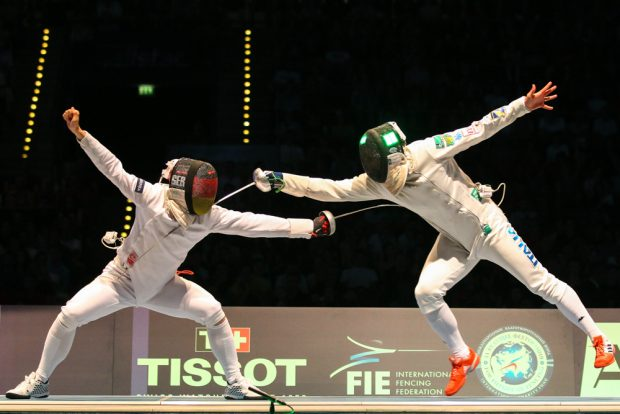 Auch im Halbfinale gegen Richard Schmidt setzte Paolo Pizzo (re.) mehrfach erfolgreich zur Flugattacke an. Foto: Jan Kaefer