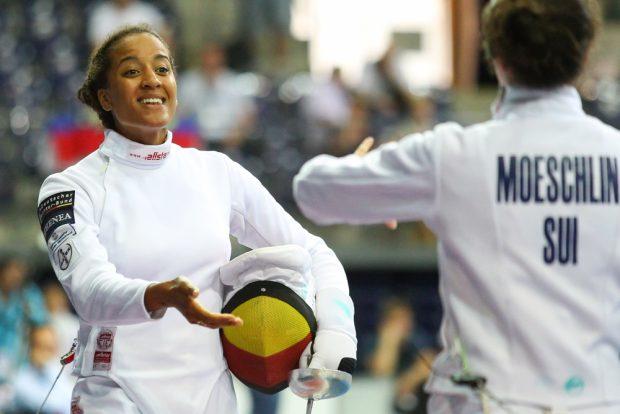 Erfolgreiche Extrarunde der erfahrenen Alexandra Ndolo (Leverkusen) gegen Noemi Moeschlin (Schweiz). Foto: Jan Kaefer