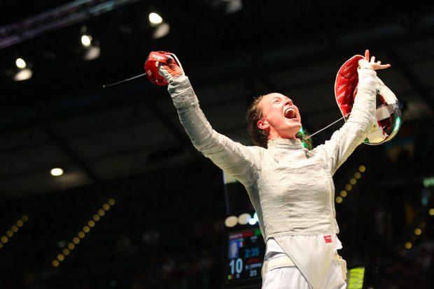 Anna Limbach hatte an ihrem 28. Geburtstag viel Grund zum Jubeln. Ihr Weg führte bis ins Säbel-Viertelfinale. Foto: Jan Kaefer