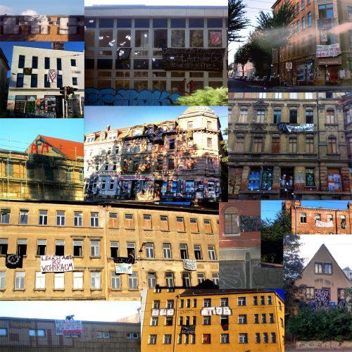 Alle besetzten Häuser des heutigen Tages in einer Collage. Foto: Squat Support LE