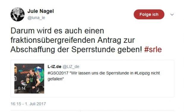 "Prompter Hinweis auf Twitter zur ""Sperrstunde"". Screen Twitter, Juliane Nagel"