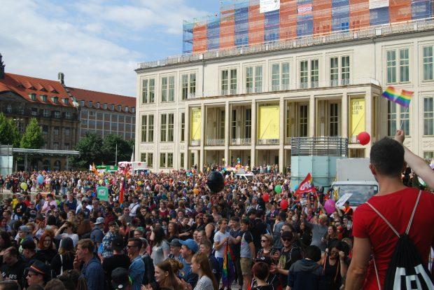 CSD in Leipzig. 3.000 auf dem Augustusplatz. Foto: René Loch