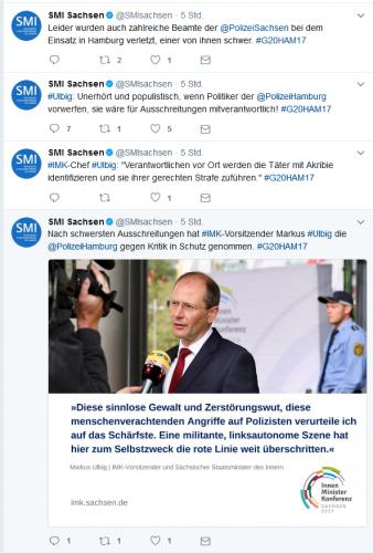 Der Twitteracount des Innenministeriums Sachsen - ohne Tweet zur Demoauflösung, aber zu den Krawallen. Es war alles richtig. Screen twitter SMI Sachsen