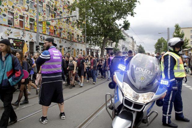 Partylicht made by Polizei. Foto: L-IZ.de
