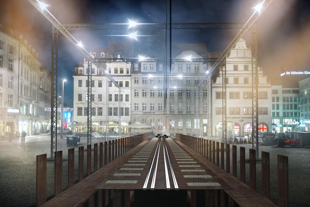 """""""Abendmahl""""-Installation am 2. September auf dem Leipziger Markt. Foto: Lumalenscape & FZML"""