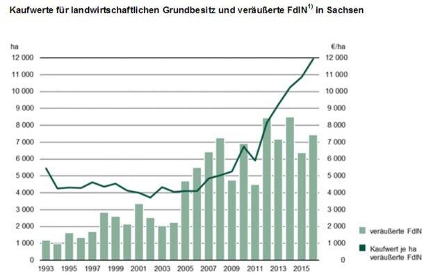 Entwicklung der Kaufwerte in Sachsen. Grafik: Freistaat Sachsen, Landesamt für Statistik
