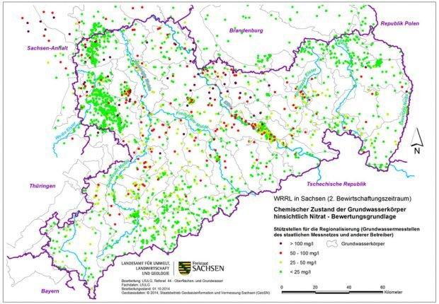 Nitratbelastung in sächsischen Grundwassermessstellen 2014. Karte: Freistaat Sachsen, LfULG