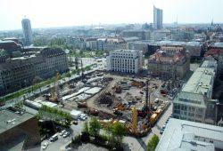 Baustelle für den SAB-Neubau in Leipzig. Foto: Ralf Julke
