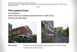 Beschlussvorlage für die Schule in der Hainbuchenstraße. Cover: Stadt Leipzig