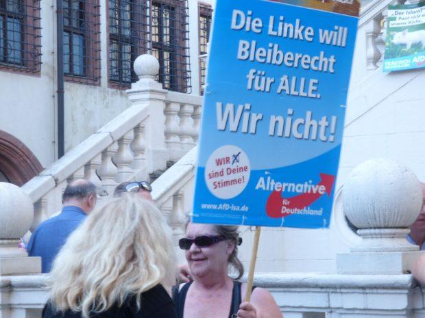 Die sogenannte OfD-Heidi diskutiert mit einer Gegendemonstrantin. Foto: Lucas Böhme
