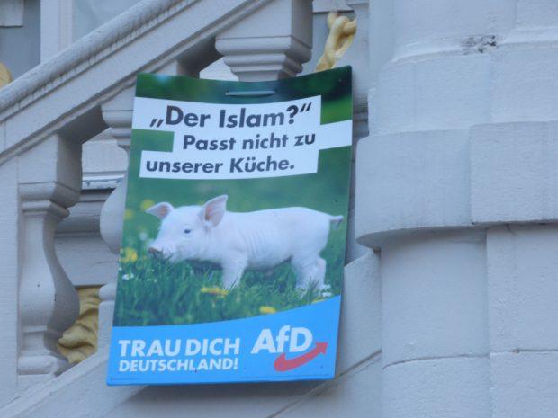 Wahlkampfplakat der AfD am Geländer der Alten Handelsbörse. Foto: Lucas Böhme