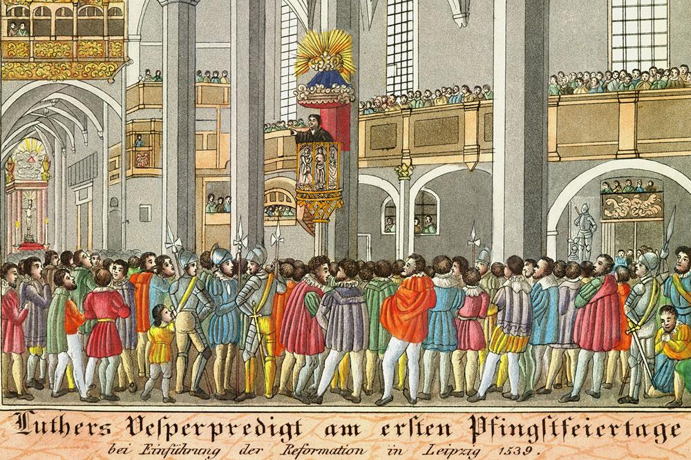 Luthers Vesperpredigt am ersten Pfingstfeiertag bei Einführung der Reformation in Leipzig 1539, unbekannter Künstler, 1839. Foto: Stadtgeschichtliches Museum