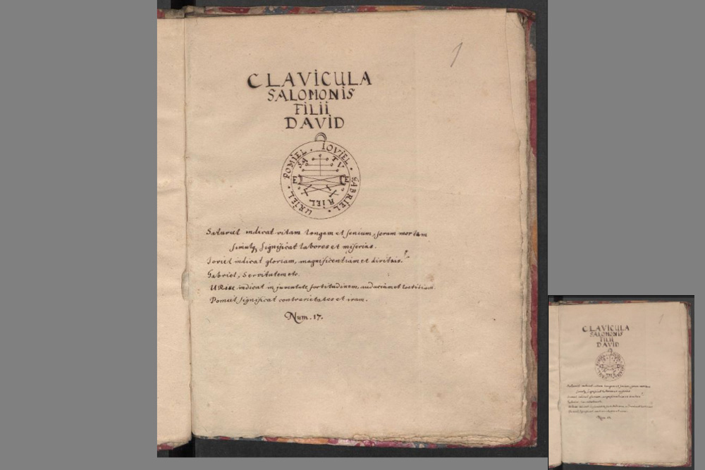 "Titelblatt der ""Clavicula Salomonis"". Copyright: UB Leipzig"