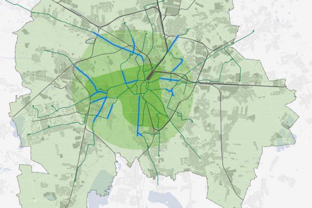 """Die Erweiterte Innenstadt als kompakter grüner Fleck im Leipziger Verkehrsgebiet. Karte: Stadtentwicklungskonzept """"Leipzig 2030"""""""
